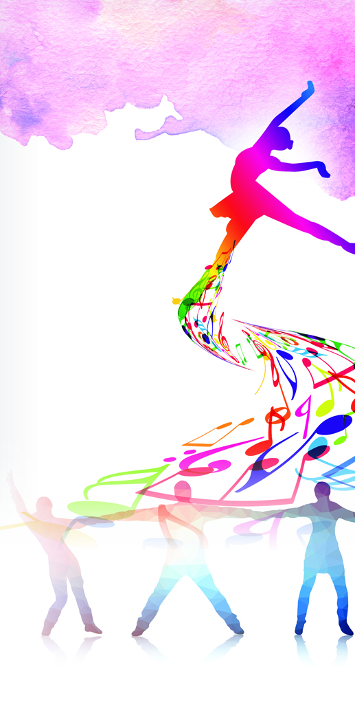 Illustrated abstract image of four dancers and colorful musical notes