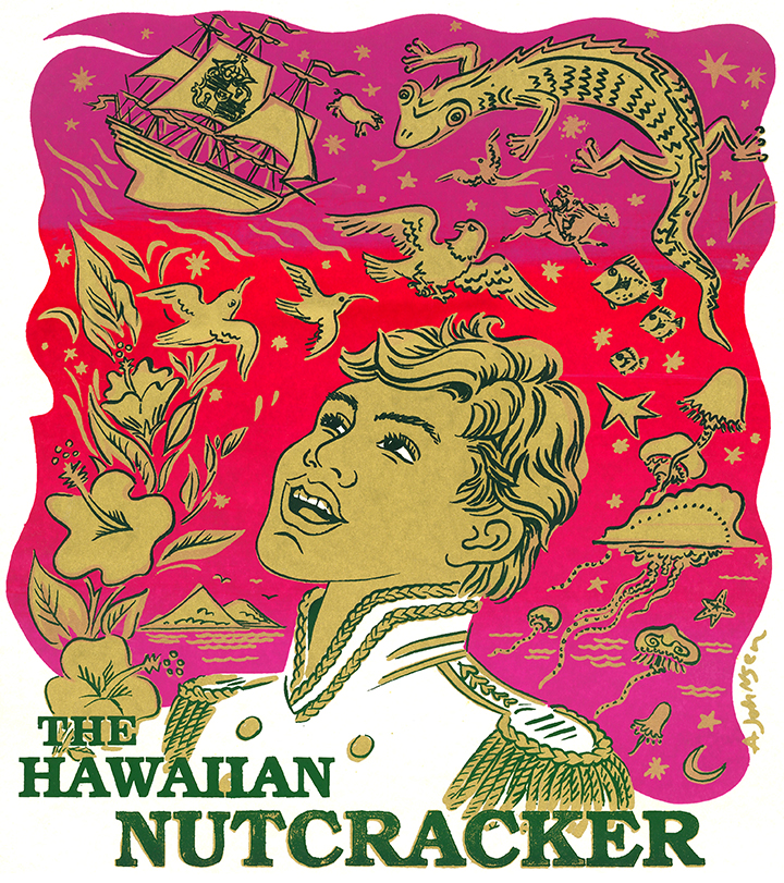 Illustration of Hawaiian Nutcracker poster