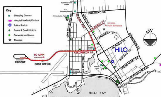 hilo map with directions to UH Hilo, 200 West Kawili Street Hilo, HI 96720